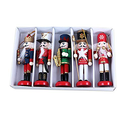 Tenflyer Houten Pop, Nieuwjaar Decor Decoratie Houten Kerst band Notenkraker Xmas Doll 12CM 1/5pcs, marionet band, Traditionele Kerstmis Houten Notenkrakers