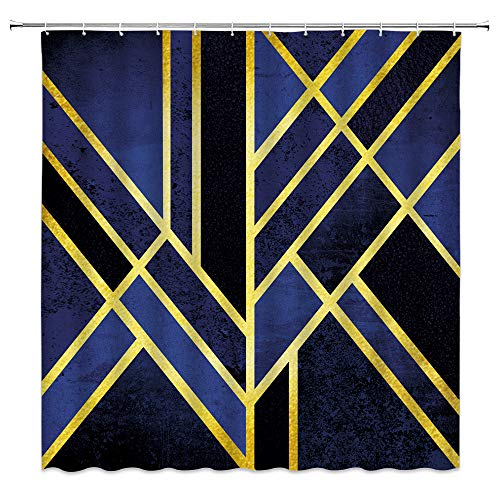 AMFD Geometric Shower Curtain Abstract Geometric Triangle Pattern Stripes Lines Yellow Navy Blue Black Art Fashion Bathroom Curtains Decor Polyester Fabric Waterproof 70 X 70 Inches Include Hooks