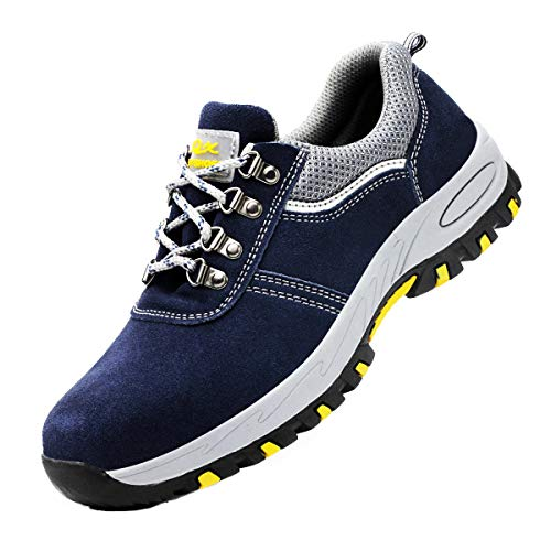 DoGeek Zapato Seguridad Calzado Seguridad Hombre con Punta de Acero, Antideslizante Transpirables, Unisex, Azul, 43