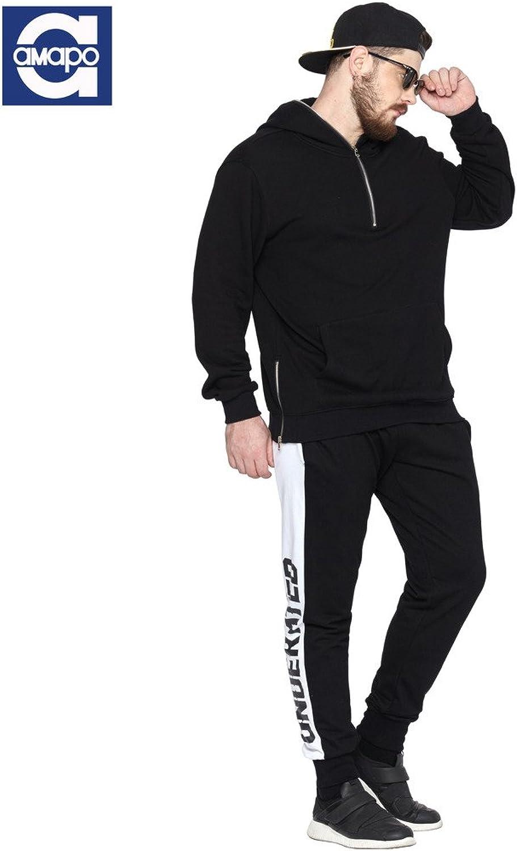 AMAPO Men Oversized Zipper Hooded Sweatshirts Black Male Loose Hoodies