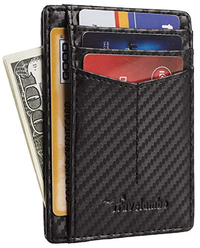 Travelambo RFID Front Pocket Minimalist Slim Wallet Genuine Leather Small Size (Ace Carbon Fiber Black)