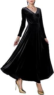 Vestito Velluto Donna Lungo Stile Impero Taglie Forti Tunica Scollo a V Abiti Maniche Lunghe Ragazza Abito Autunno Inverno...