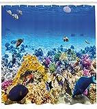ABAKUHAUS Fisch Duschvorhang, Ozean Korallen Goldfisch, Seife Bakterie Schimmel und Wasser Resistent...