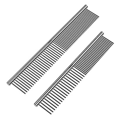 ROPO Pet Steel Combs Dog Cat Comb Tool for Removing Matted Fur - Pet Dematting Comb with Rounded Teeth and Non-Slip Grip Handle - Prevents Knots and Mats for Long and Short Haired Pets,6.5IN/7.4IN by ROPO