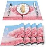 Juego de 4 manteles individuales,diseño de árbol de amor del día de San Valentín,rectangular,lavable,resistente al calor,decoración de cocina para casa de campo,mesa de cocina,color rosa