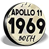 ulxjll Borse per Pneumatici Apollo 11 50Th Anniversary 1969 Copriruota Universale in Gomma per Copertoni Ruota per Rimorchio Rimorchio RV SUV Accessori da Viaggio per Camion 14'