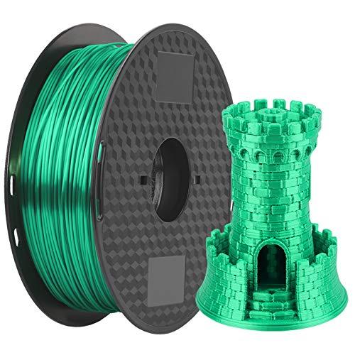 3D Printer Filament Silk Green, Silky Shiny PLA Filament 1.75mm, 1kg 2.2lbs 1 Spool MKOEM