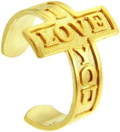 14k Yellow Gold I Love You Sideways Cross Toe Ring