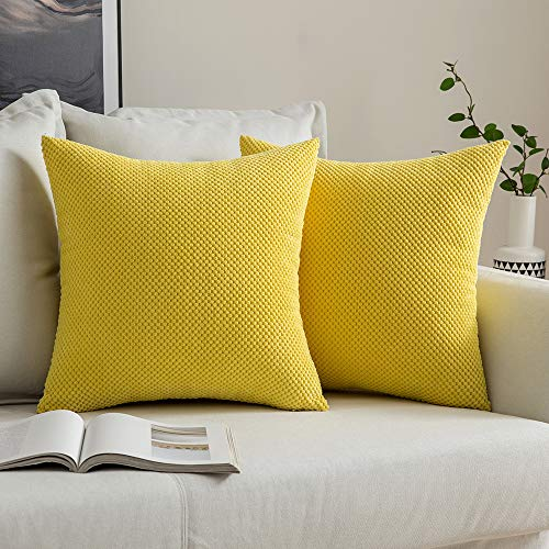 MIULEE Corduroy Granule Throw Pillow Covers Soft Pellets Solid Decorative Square Cushion Case for Sofa Bedroom Yellow 18'x18'2 Pieces