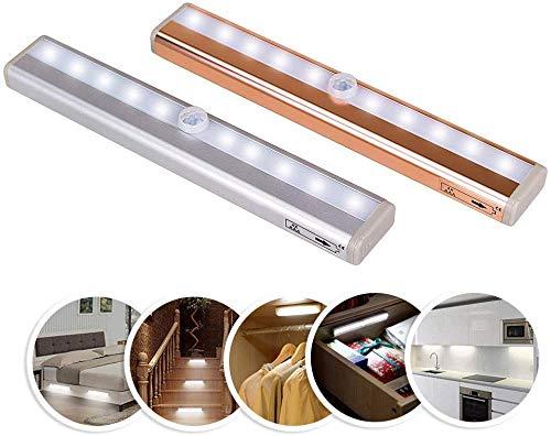 WYZXR Luz Nocturna LED con Sensor de Movimiento, batería inalámbrica de Aluminio, lámpara de Pared extraíble para Armario, Color Plateado, luz cálida