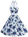 Dressystar, abito vintage a pois, stile rockabilly, anni '50, anni '60, con allacciatura al collo Bianco con fiore blu. L