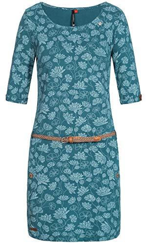 Ragwear Damen Tanya Flowers Jerseykleid blau S