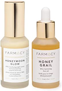 Farmacy Golden Hour Duo! Honeymoon Glow Night Serum And Honey Grail Face Oil! Face Serum Helps Resurface & Clarify Skin! Hydrating Face Oil To Lock In Moisture Overnight! Gorgeous Glow All Day Long!