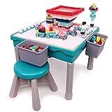 Arkmiido kindertisch mit stühle,spieltisch Baby ab 12 Monate,Mehrzweck-Aktivitätstisch für Kinder Bauen und Angeln, Essen, Kinderspiel- und Lernschreibtisch, einschließlich 200 Stück Blöcke.