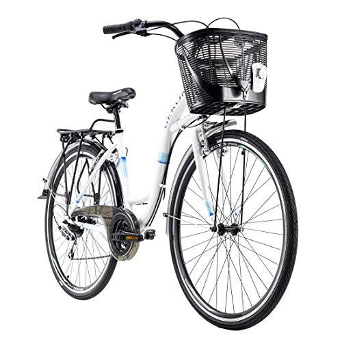 Damenfahrrad 28\'\' Geroni Siro weiß mit Korb RH 46 cm KS Cycling