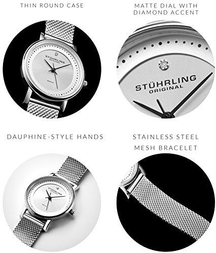 Stuhrling Original 734LM.01 - Montre Quartz - Affichage Analogique - Bracelet Acier inoxydable...