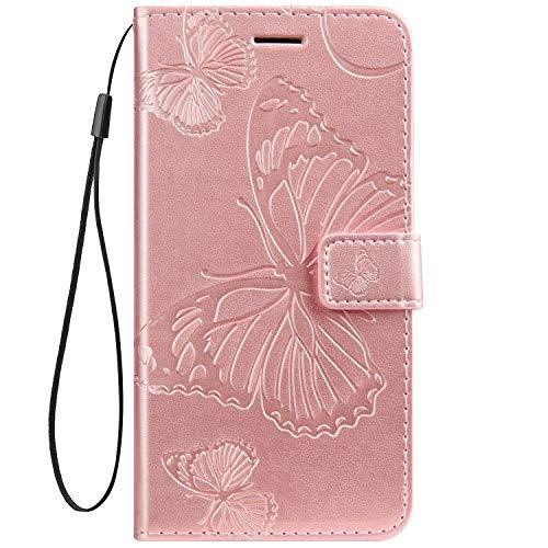 Kompatibel mit Leder Handy Schutzhülle Motorola Moto Z2 Force Lederhülle Schmetterling Muster Leder Handyhülle Handytasche Brieftasche Ledertasche Bookstyle Flip Hülle Cover Klapphülle,Rose Gold