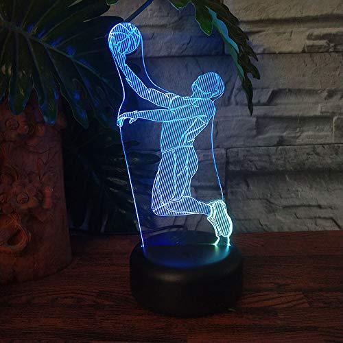 Cast basketbal sport leidde 3D illusie touch 7 kleurverandering acryl lamp slaapkamer nachtlampje fan beste kind jongens man geschenk slapen nachtlampje slaapkamer decoratief kerstcadeau