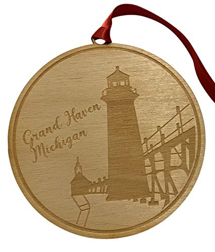 Westmon Works Grand Haven Michigan Ornament Wooden Christmas Tree Decoration with Lighthouse