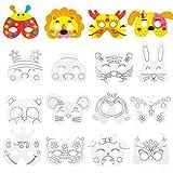 Augoog 16 Pack Masken zum Ausmalen,Masken zum Bemalen Kinder,Weiße Kartenaugenmasken Farbe in Tiergesichtsmasken mit Elastischem Seil,Ideal zum Kindergeburtstag und Karneval
