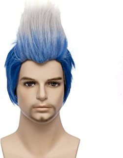 Max Beauty Short Curly Wig Ombre Blue and White Wig Men Wig Cosplay Wig for Halloween Wig + Free Cap