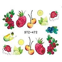 SUKTI&XIAO ネイルステッカー 1ピースネイルステッカー水入れ墨夏アイスクリーム/ドリンク/フルーツ/花/蝶Diyデカールネイルアートクールな装飾、Stz472