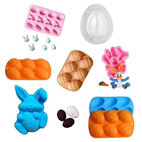 TTTK Silicone Molds Easter Bunny Rabbit Egg Chocolate Bomb Mold Cake Pans Baking Pan for Cupcake Topper, Chocolate, Pastry, Cookie
