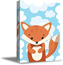 "Awkward Styles Fox in Clouds Canvas Fox Decor Baby Girl Room Decoration Baby Boy Play Room Wall Art Ready to Hang Artwork for Kids 8"" x 12"""