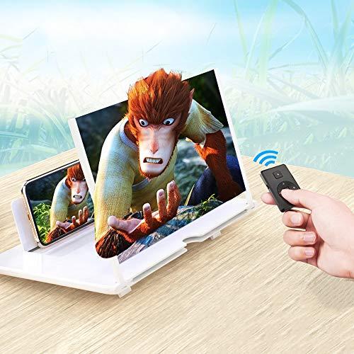 Lupa de pantalla 3D, pantalla de teléfono universal de 12 pulgadas, soporte ajustable, pantalla curvada para teléfonos móviles, amplificadores de pantalla HD plegable, magnificador para películas, vídeos y juegos.