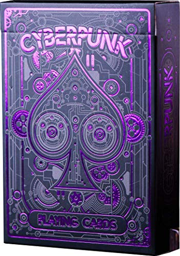 Cyberpunk Purple Playing Cards, Deck of Cards with Free Card Game eBook, Premium Card Deck, Cool Poker Cards, Unique Bright Colors for Kids & Adults, Card Decks Games, Standard Size