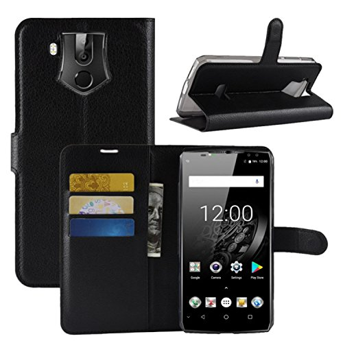 HualuBro OUKITEL K10 Hülle, Premium PU Leder Leather Wallet HandyHülle Tasche Schutzhülle Flip Hülle Cover mit Karten Slot für Oukitel K10 Smartphone (Schwarz)