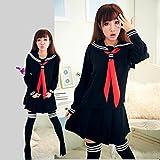 LULUTING Uniformes escolares escuela de moda de clase marina marinero marinero uniforme JK Japanese School for chicas juego cosplay 3 PC/sistema (Color : Black 2pcs add sock, Size : M)