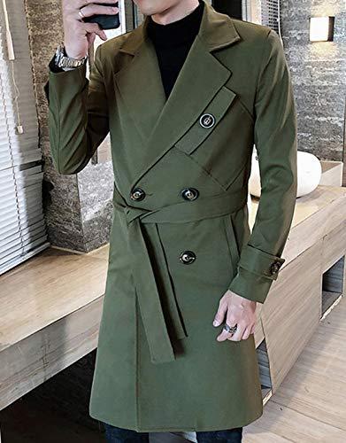JHIJSCコートメンズロングジャケットトレンチコートビジネス秋冬防寒防風大きいサイズ(グリーン,XXL)