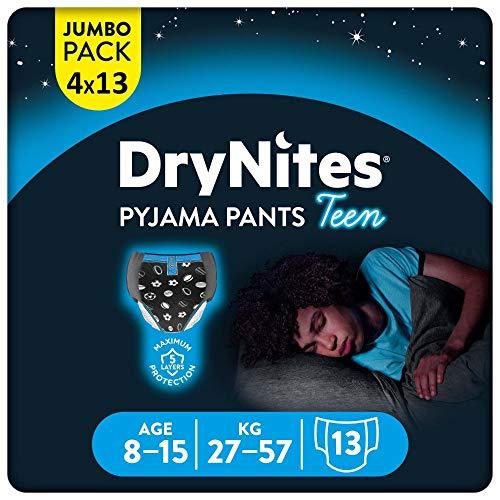 DryNites saugfähige Nachtwindeln Teen bei Bettnässen, Für Jungen 8-15 Jahre (27-57 kg), 4 x 13 Stück