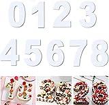 Guijiyi Moldes para Tartas,Moldes Números para Tartas con 0-8 Números,9 Piezas Number de Plantillas para Pastel Hornear,Repostería de Frutas Decoración en Cumpleaños Aniversario Boda