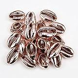 Concentraciones de concha de mar para mujer Accesorios de joyería de playa Pendientes Pulsera Collares de fabricación-Oro rosa_PORCELANA_50pcs (1.8-2.0cm)
