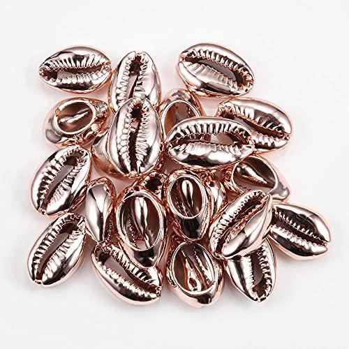 Concentraciones de concha de mar para mujer Accesorios de joyería de playa Pendientes Pulsera Collares de fabricación-Oro rosa_PORCELANA_40pcs (1.6-1.8cm)