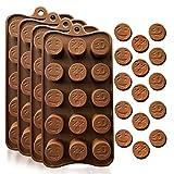 KITCHENATICS Moldes de Silicona para Caramelos y Chocolates: Molde Flexible para Caramelos Duros o Gomosos   Nuevas Formas   Moldes para Hornear para Dulces y Chocolates - Bandejas, Emojis - 4 Pzas