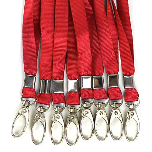 100 Pack Red Lanyards Flat Bulk Lanyard for ID Badge Neck Straps Nylon Cruise Lanyard Swivel Hook Clips for Employees and Students Office Business ID Card Name Tags and Badge Holders