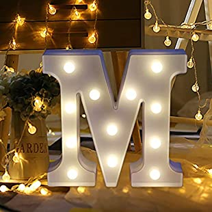 Native 99 Holiday Decoration Family Party Remote Control Alphabet Letter Lights Light White Plastic LED Lights (White-M)