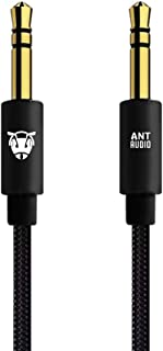 Ant Audio AA-AU100 Aux Cable 3.5mm (6.5ft, 2M) Auxiliary Braided Audio Cable for Headphones, Car/Home Stereos, iPod, iPhone, Ipad, Android Phones, Echo Dot, Beats, Sony & More – Black