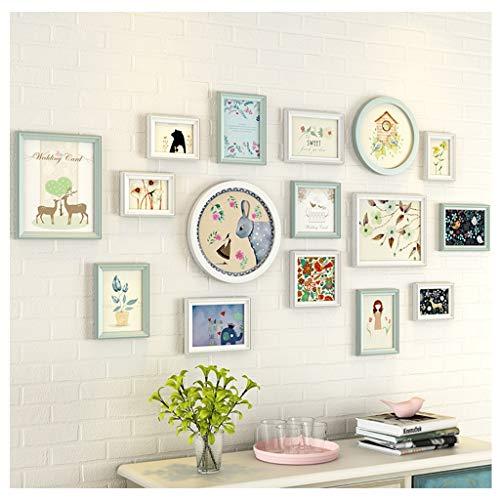 Jjek massief hout foto muur, hoge transparante fotolijst woonkamer studie slaapkamer muur (16pc) B