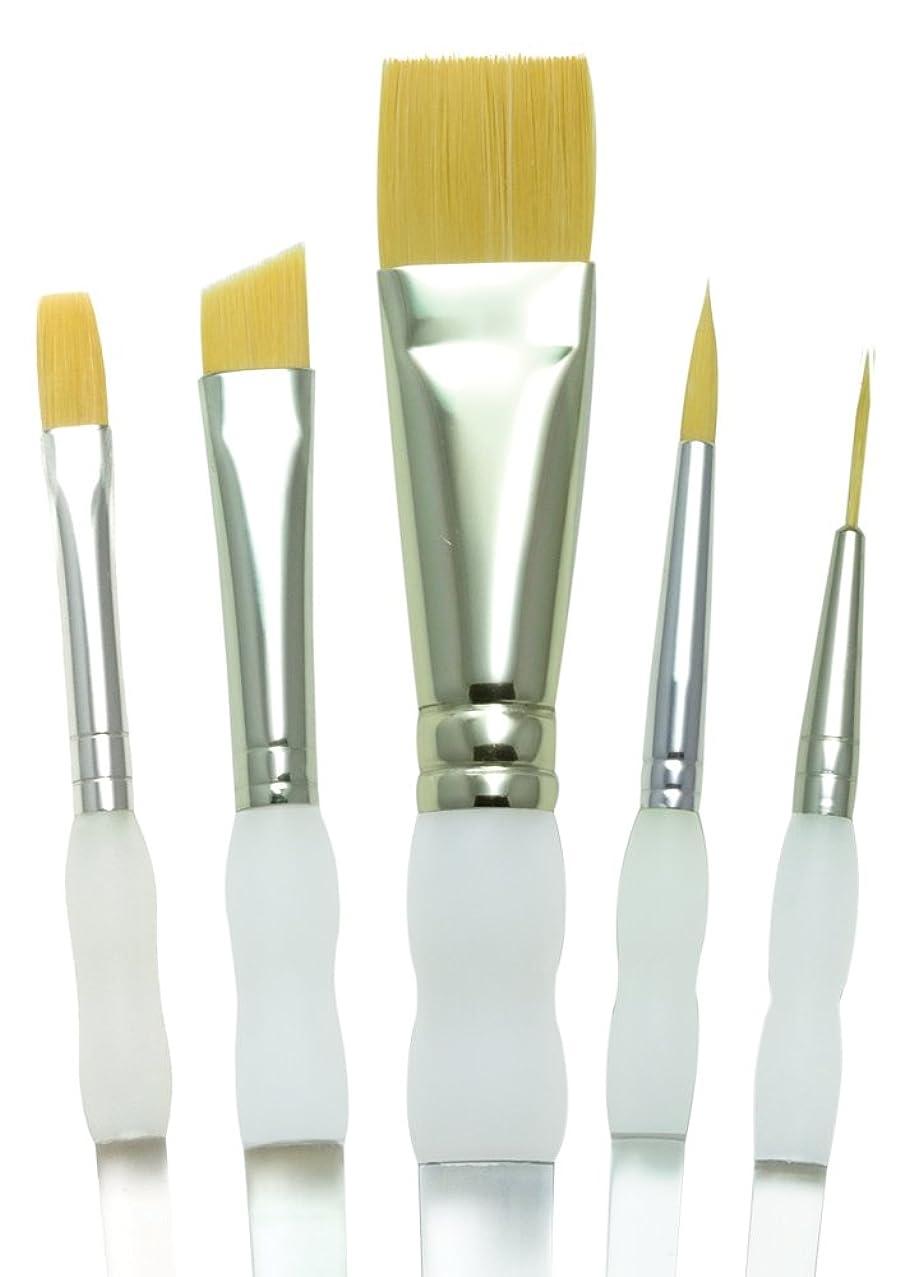 Royal Brush Soft Grip Beginner Golden Taklon Fiber Paint Brush Set, Assorted Size, Set of 5