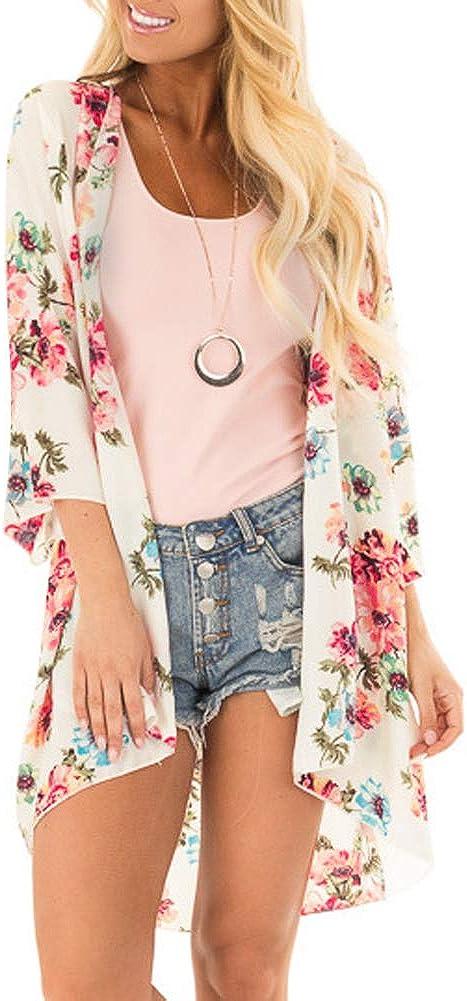 PINKMSTYLE Women's Floral Print Kimono Sheer Chiffon Loose Cardigan