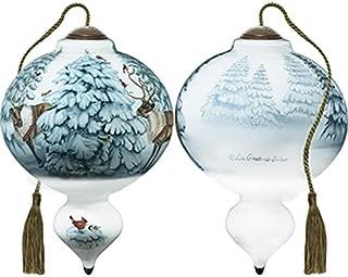 Ne'Qwa Art Hand Painted Blown Glass Santa's Reindeer Ornament,