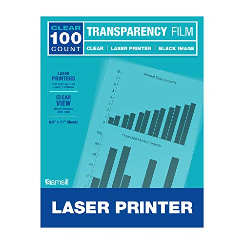 Samsill Economy Transparent Printer Paper/Projector Paper, Clear Transparency Film for Laser Jet Printers, 8.5 x 11 Inch Sheets - Black Image Only, Box of 100 Sheets