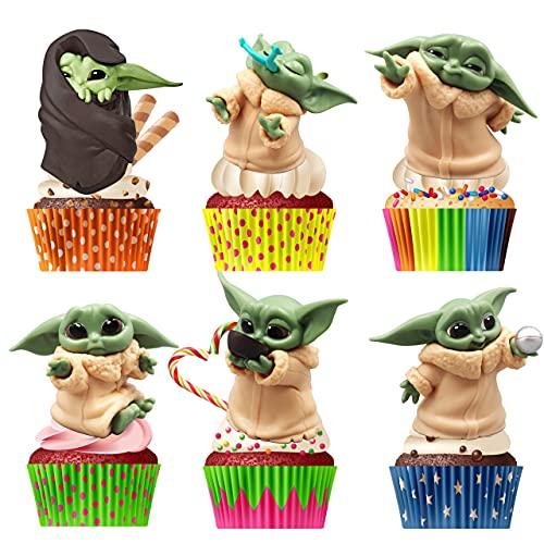 Star Wars Pastel Suministros, Yoda Baby Doll Figure Modelo de Acción, Figuras de Cupcakes Figura de Acción, Figuras para Bebé, Cake Topper Decoración para Niños, 6 Pcs