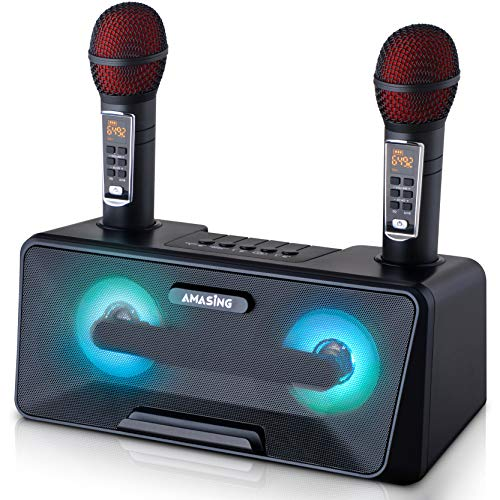 Portable Karaoke Machine for Kids & Adults - Best Birthday w/Bluetooth Speakers, 2 Wireless Microphones, LED Lights, Tablet Holder, PA System & Karaoke Song Mode! (Presto, G2 Black)