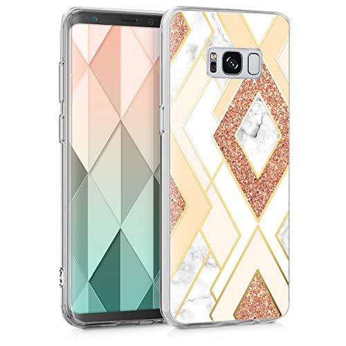 kwmobile Hülle kompatibel mit Samsung Galaxy S8 - Handyhülle Silikon Hülle - Glory Mix Marmor Gold Kupfer Beige