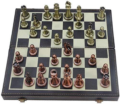 Juego de ajedrez Juego de Viaje para Adultos y niños Tablero de ajedrez de Cuero Juego de ajedrez Internacional Juego de Piezas Plegables Tablero e Divertido e Colección de Piezas de ajedrez Tablero